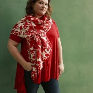 Tops - High-Low Tunic-Brick Red - Plus